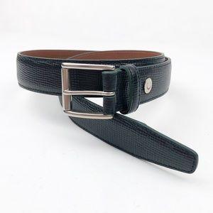 "Coach Black Leather Belt Silver Buckle Size 30"""